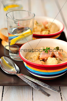 Salmon Chowder with Cauliflower