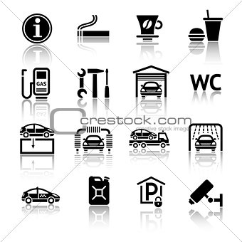 Gas station icons set