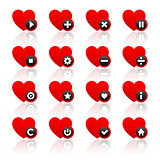 Icons set - red hearts and black buttons. Vector illustration