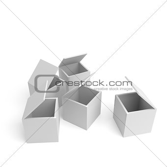 big open cardboard boxes on a white background