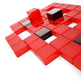Abstract red and dark glass cubes on a white