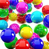 bright red blue yellow spheres in the form of the background image
