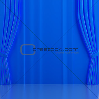 Brightly blue curtains on a theatrical scene