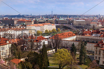 red roofs of Prague from height of Prague Castle, Czech Republic