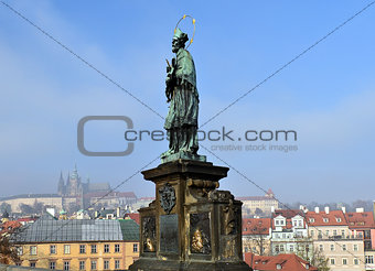 Statue of Saint on Charles Bridge, Prague, Czech republic