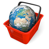 Earth in shopping basket