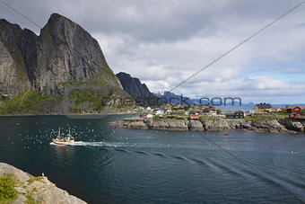 Fishing boat in fjord