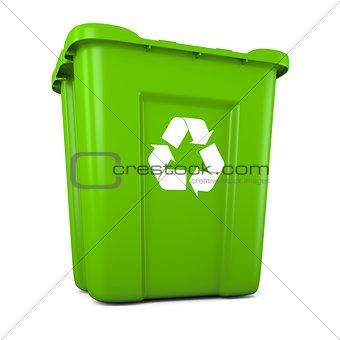 Green plastic recycle bin