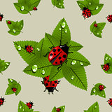 Spring leaves and beetle pattern