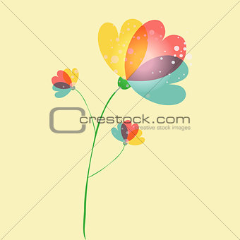 Single multicolored transparent flower