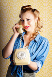 Hip Retro Girl Talking On Vintage Telephone