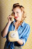 Hip Retro Girl Talking On Vintage Telephone