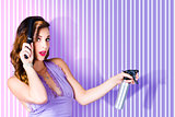 Surprised Pinup Woman With Beauty Salon Hair Style