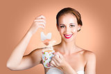 Happy Beautiful Pin Up Girl Drinking Tea Or Coffee