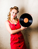 Rockabilly Music Girl Holding Vinyl Record Lp