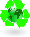 the vector green world globe with recycling symbol