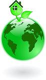 the vector green world globe