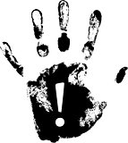 vector hand print with exclamation mark