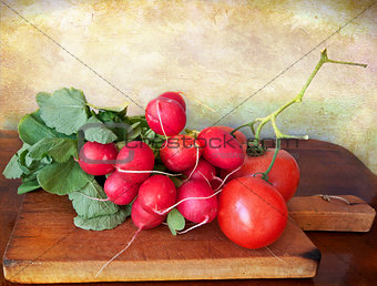 Summer vegetables on a chopping board