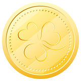 Vector gold coin with clover. Symbol of St. Patrick&#39;s Day