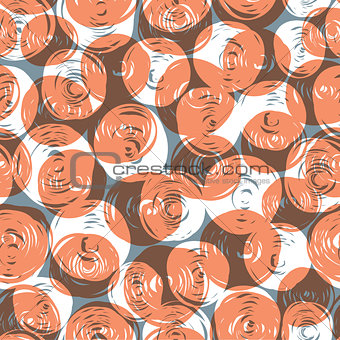 Abstract retro seamless pattern (balls doodles). Vector, EPS10