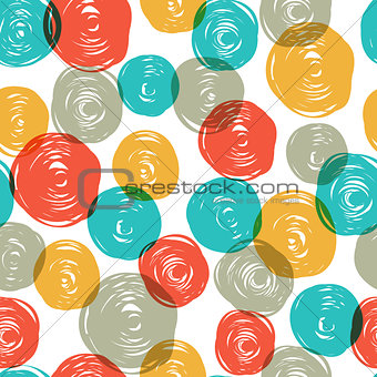 Abstract colorful retro seamless pattern (balls doodles). Vector