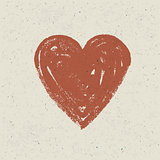 Heart on paper texture. Vector, EPS10