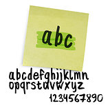 Handwritten alphabet (uppercase letters with numbers). Vector.