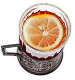 top view of black tea with lemon