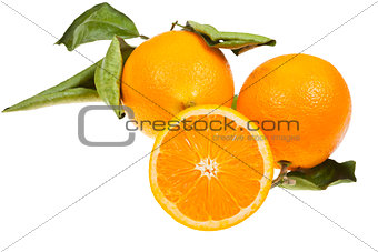 three oranges with green leaves