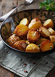 Oven-baked potatoes with sea salt