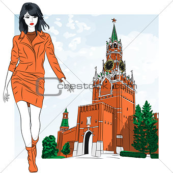 Vector sketch of the lovely fashion girl in Moscow