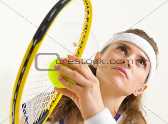 Portrait of tennis player ready to serve