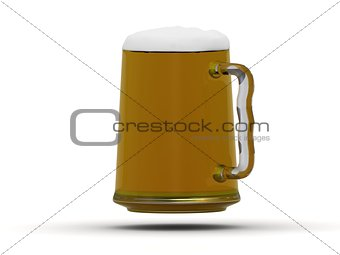 Beer mug with beer poured to the brim with foam