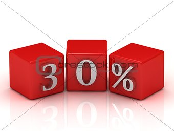 3d red cubes thirty percent