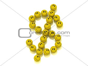 Funny smilies lined up in a dollar figure