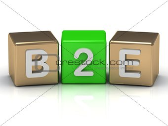 B2E Business to Employee symbol on gold and green cubes