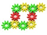 Set of colored gears