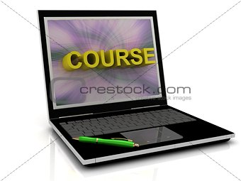 COURSE message on laptop screen