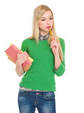Portrait of thoughtful student girl with books