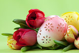 Flowery Easter eggs and tulips