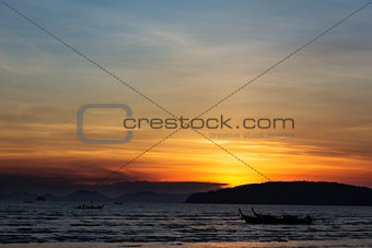 Sunset in Andaman sea, Krabi, Thailand