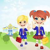 Vector happy schoolgirl and schoolboy near school
