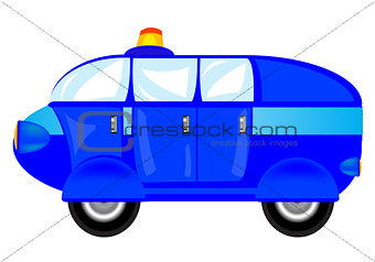 Blue cartoon car on white background