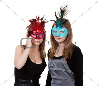 two girl in the masquerade mask