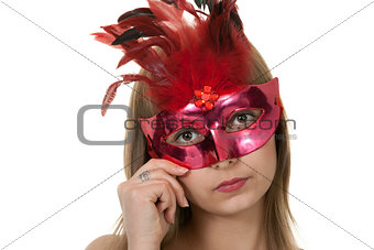 girl in the red masquerade mask