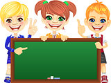 Vector happy smile kids with banner Blackboard