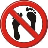 Prohibition of walking barefoot