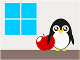 Cartoon penguin apple and windows illustration