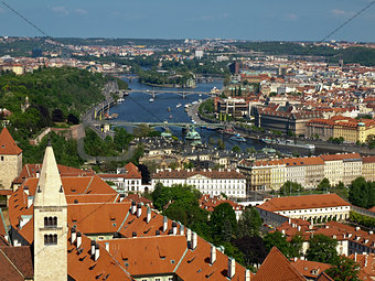Prague in the north-east from the bell tower of the Cathedral St